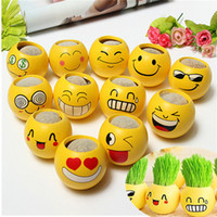 Wholesale Ceramic Planter Expression Magic Hair Plant Green Grass Pot Seed Home Decor Toy