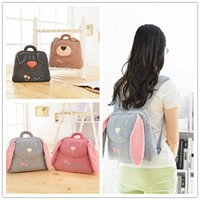 beer backpack - Cute Ears cartoon Animal Baby Backpack Beer Monkey Plush Backpack Shool Bag Toddler Shoulders Bags Fashion Children Cotton Bag A4941