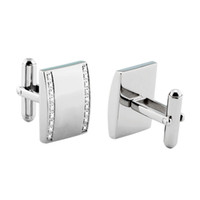 Wholesale 2015 simple design stainless steel men high quality crystal cufflinks male