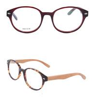 Wholesale retro vintage round glasses frame wood eye glasses women men optical glasses frame high quality acetate glasses F022