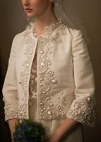 accessories custom embroidery - Custom Made Embroidery Lace Pearl Bead Bolero Jacket For Wedding Dress Long Sleeve Mother Jacket Exquisite Bridal Accessories Wraps