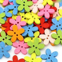 Wholesale Multicolor mm Holes Mixed Flower Wooden decorative Buttons Fit Sewing Scrapbooking Crafts