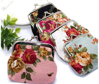 Wholesale Spring flowers essential new retro buckle coin purse canvas bag Vintage flower coin purse canvas key holder wallet