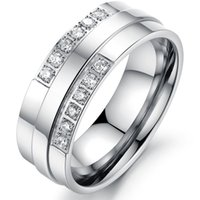 Wholesale Luxury Titanium Steel CZ Diamond Lovers Ring for Couple