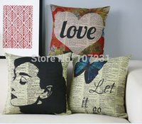 adult newspapers - 45X45cm Vintage cushion cover Pillow Case Cover Throw Linen Decor Home AUDREY HEPBURN Butterfly Love Newspaper Cushion Cover
