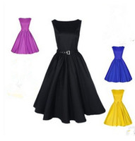 audrey free - Audrey Hepburn Dress Summer Style Vintage Big Swing s s Dress Plus Size Casual Solid Color Sleeveless Rockabilly Dress Free Shippin