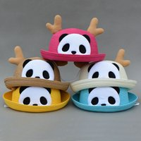 Wholesale Fashion lady Panda ears style straw hat sunhat sombrero Children summer beach cap