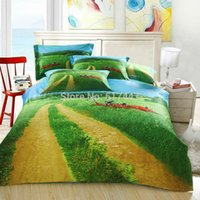Wholesale FS green grass and bike d oil painting for king queen size cotton beautiful duvet quilt bed linen sheet bedcover covers