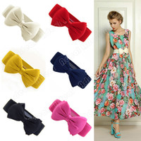 Wholesale Fashion Sweet Women Dress Bowknot Elastic Bow Wide Stretch Buckle Waistband Waist Belt SV001892