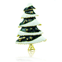 christmas pins - High Quantity Brooches Pins Fashion Enamel Christmas Tree Gold Plated Brooches Weddings Christmas Decoration Jewelry