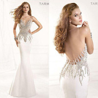 Wholesale 2016 Sheer Tarik Ediz Formal Evening Gowns Sexy Illusion Crystals Rhinestone Backless Mermaid Vintage Pageant Prom Dresses TE93029