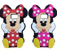 achat en gros de anime cas iphone 5c-Case dessin animé de Mickey 3D mignon Minnie Mouse en caoutchouc silicone souple pour iPhone 4 4S 5 5S 5C 6 4.7 plus 5,5 bord iPod Touch Samsung Galaxy S6