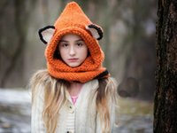 baby beach protection - baby Hooded Bear Animal Hat Hooded Scarf Crochet Hoodie girls fox hat Handmade Knitted Chunky Wool Hooded Cowl orange