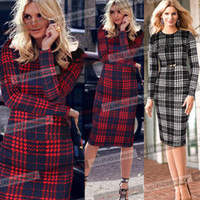 belted tunic dress - 2016 Womens Celebrity Winter Belted Elegant Tartan Tunic Long Sleeve Work Cocktail Party Sheath Pencil Bodycon Dress