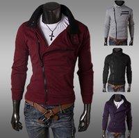 Wholesale new style high quality hoodies sweatshirts men oblique zipper design fashion sweater coat WW87Y hot selling