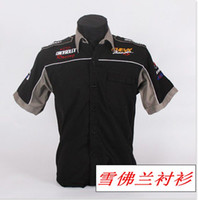 embroidery work - NEW brand summer S Work clothing F1 karting automobile race suit CHEVROLET short sleeve men shirt game services embroidery