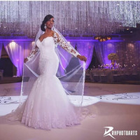 Reference Images africa portrait - Lace Mermaid Wedding Dresses Appliqued Sweetheart long sleeve backless stunning Bridal Gowns crystal White South Africa Arabic