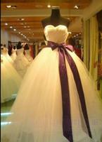 Wholesale Plus Size Ribbons Bridal Dress Yarn Tube Dress Custom Made Bridal Gown Formal Dress cheap wedding dresses china