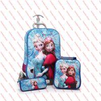 Wholesale children D frozen Crown School Bags suitcase girls three piece pull rod box cartoon Frozen trolley school bag