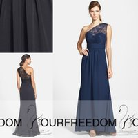 Wholesale 2015 New Formal Bridesmaid Dresses One Shoulder Sleeveless Lace A Line Long Chiffon Summer Beach Navy Blue Black Maid of honor Prom Gowns
