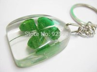 awesome keychain - Fashion Jewelry Key Chains GREEN LUCKY GIFT COOL SHAMROCK KEYCHAIN AWESOME REAL FOUR LEAF CLOVER KEY RING