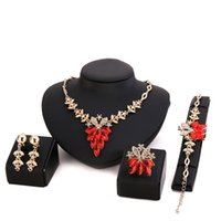 african beads - African Beads Jewelry Set k Gold Filled Ruby Sapphire Clear Austrian Crystal Women Wedding Necklace Bracelet Earring Ring CT048