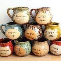 Wholesale 100 pieces a Japanese style retro big belly ceramic cup Nostalgic alphabet Mug milk cup