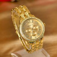 analog alarm watch - Geneva Watch Full Steel Watches Women dress Rhinestone Analog wristwatches men Casual watch Unisex Quartz watches new