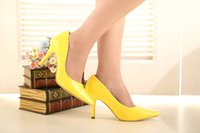 Cheap Luxury Bride Wedding Shoes High-heeled Lady Shoes Acumination Nightclub Prom Dresses Shoes DY33049 Yellow