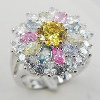 Cheap Citrine Pink Sapphire Morganite Aquamarine White Sapphire 925 Sterling Silver Ring Size 6 7 8 9 10 11 A01