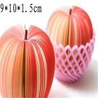 Wholesale 9 cm DIY self stick fruit memo pads red apple and cyan pear style available office or school supply