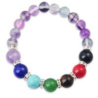 crystal rondelles - Joya Gift Natural Fluorite MM Round Beads Chakra Gemstone Bracelet with crystal rondelles and Gemstone for women jewelry bangle