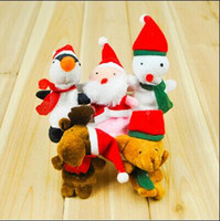 Wholesale 2000pcs CCA2628 Hot set Cartoon Christmas Santa Claus Finger Toys Puppet Plush Toy Snowman Bear Dolls For Kids Baby Kids Novelty Gifts