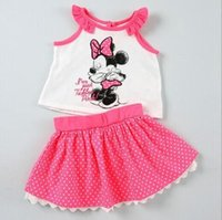 Cheap 2015 new Minnie Mickey kids clothes summer outfits minnie cotton dress Mice girls summer sets