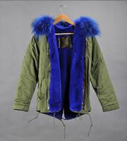 Wholesale 2016 New arrival Mr Mrs itlay rabbit fur lined mini parka women parka Mr Mrs Furs raccoon Fur hoody
