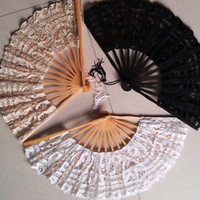 Wholesale Black White Hand Made Bridal Fans For Beach Wedding Applique Bridal Parasols Cotton Bamboo Materials Bridesmaid Fans Parasols Party Dance