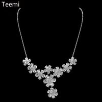 big fancy earrings - Teemi New Arrival Big Sale Flower Pendent Wedding Fine Jewelry Sets Cubic Zircon Rhodium Plated Necklace Earrings For Fancy Women