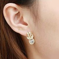 authentic korean fashion - 2015 fashion jewelry double sided studs earrings for women piercings crystal Authentic Korean fashion ladies crystal pendant earring inlaid