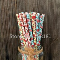baby shower tea - 300pcs Mixed Colors Colored Floral Paper Straws Yellow Blue Pink Children Baby Shower Girl Princess Vintage Flower Tea Party