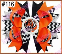 Wholesale college team ribbon hair bows stacked hair bows NCAA girl big hair bow LSU QU KU hair bows
