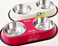 Wholesale High Quality Stainless Steel Pet Bowl With Cute Cartoon Anti slip Water FoodFeeder Double Bowl S L Size Mix Color