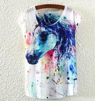 beautiful horse paintings - Ada NEW Printing ink painting horses beautiful summer short sleeve T shirt Round collar women t shirt tops