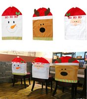 Wholesale 50cm cm Chirstmas Chair Cover Cartoon Santa Claus Snowman Deer Dinning Chair Covers Xmas Party Decoration Trendy Good Quality K999