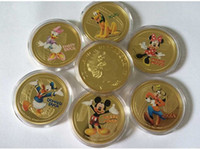 Wholesale 6 Full set Hollywood cartoon animal mickey mouse minnie mice daisy duck Donlad duck dog goofy gold plated souvenir coin set