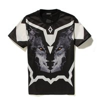 animal mounts - 2016 summer style Marcelo Burlon Brand Geometry Wolf Head Mounted Men T shirt d T Shirts Camisetas Cotton tshirt Casual Tee