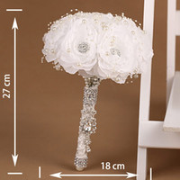 Cheap Handmade White Rose Flower Wedding Bouquet Brooch Crystal Pearls Silk Bridal Flowers Cheap Wedding Decorations Bride Bridal Bouquets