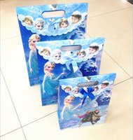 Wholesale All frozen figures printing Girls gift bags paper Pvc outside children bag organizer children kids Gifts package bag For Holidays Christmas