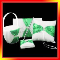 Wholesale 4pcs set Green Satin Wedding Gift Decoration Set Ring Pillow Flower Basket Guest Book Pen Set Wedding Product