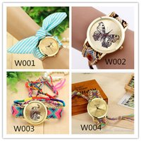Wholesale 2015 new style Colors Braided Rope Bracelet Geneva Watches Hand Made Friendship Watch Women Quartz Watches