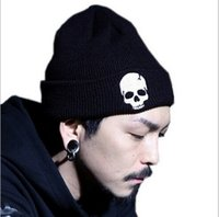 acrylic yarn for hair - Fashion Designer Skull Knitted Beanies Hip Hop Hats Winter Head Ears Warmer Caps For Adults Mens Womens Sports Hair Bonnet Black Color Sale